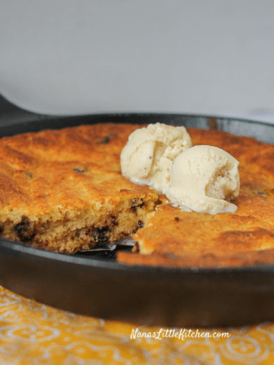 Sugar Free Chocolate Chip Skillet Cake
