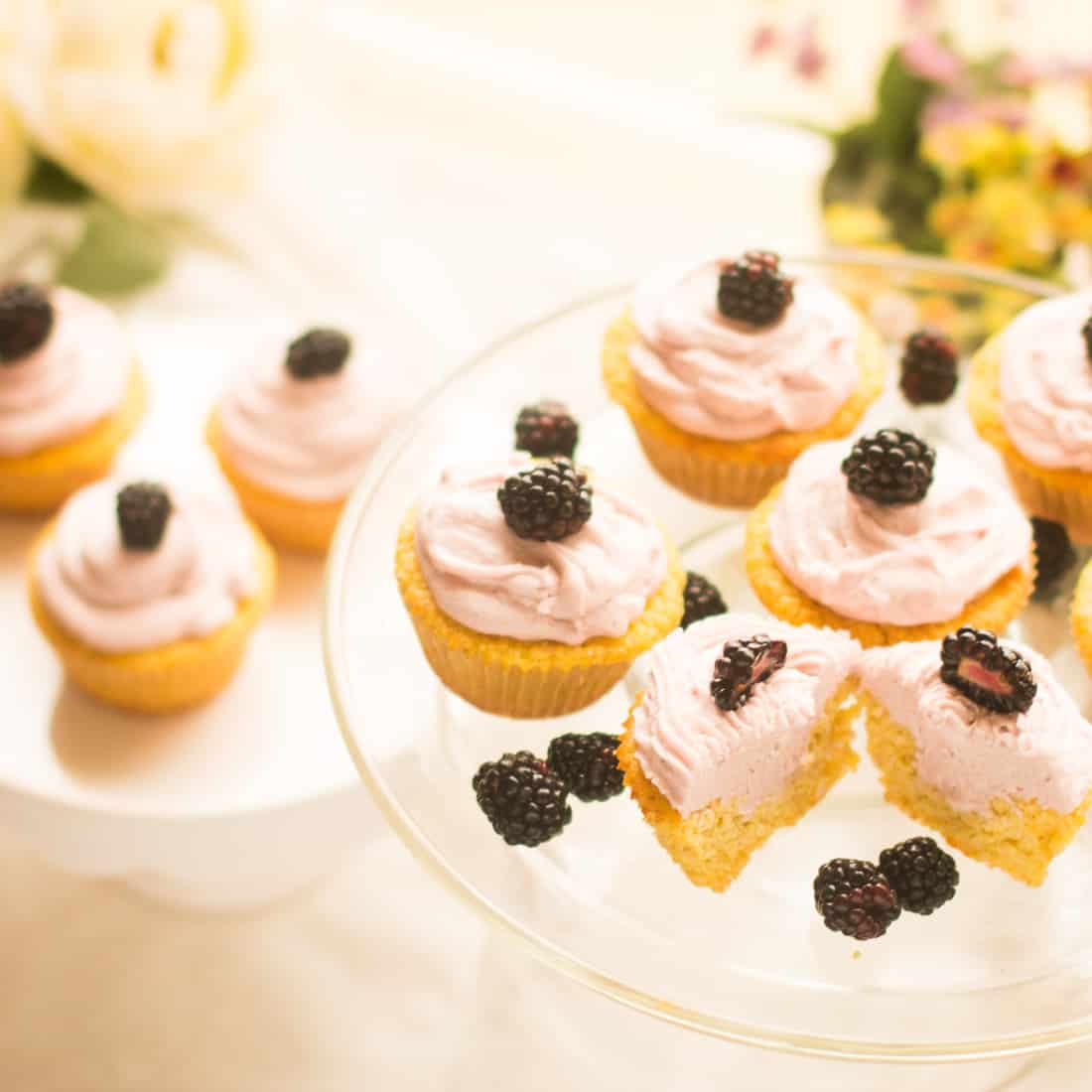 Sugar Free Blackberry Lemonade Cupcakes