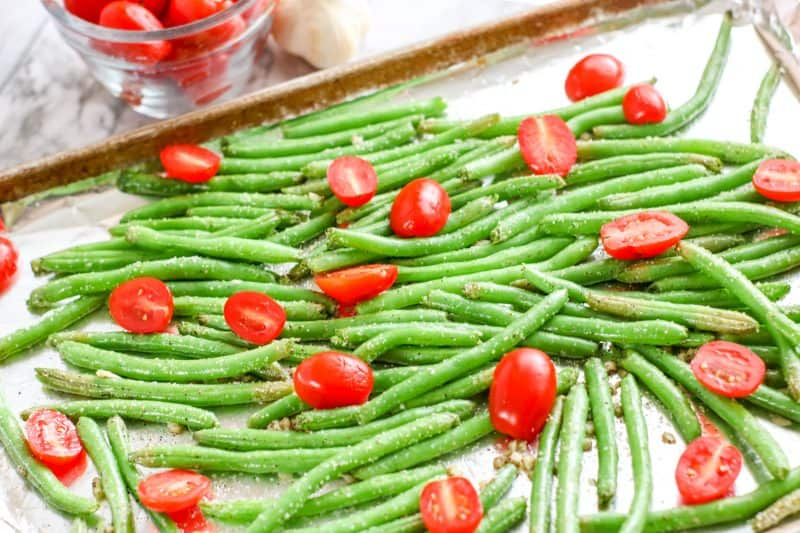 Roasted Garlic Green Beans and Tomatoes