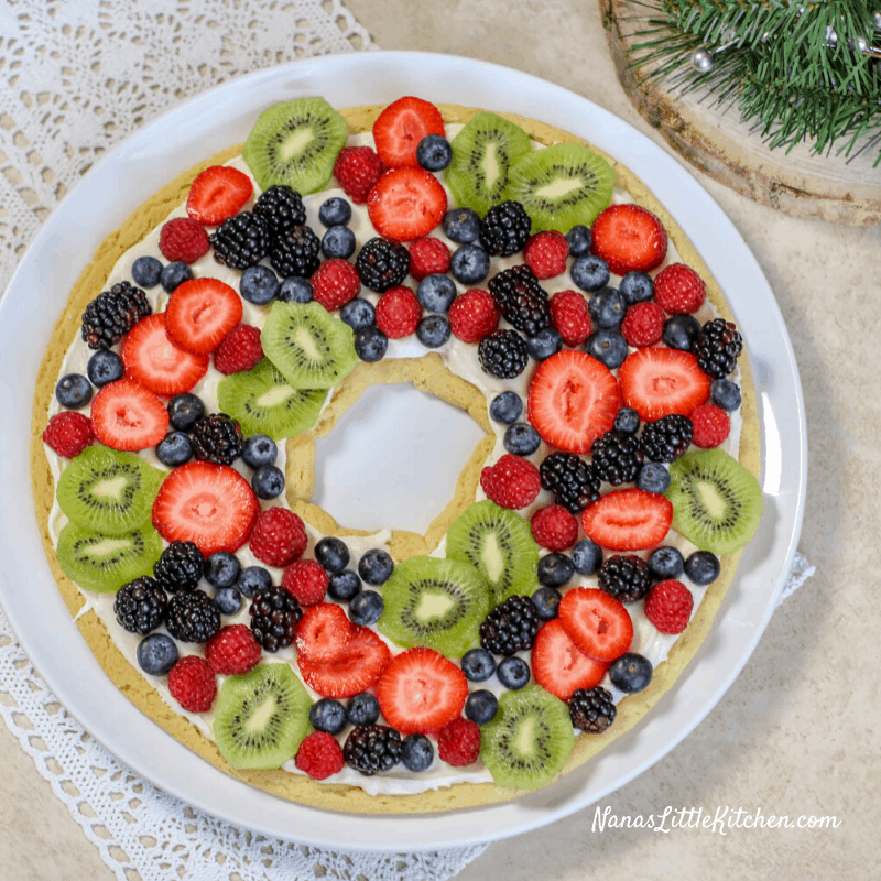 Fruit Pizza Cookie Wreath